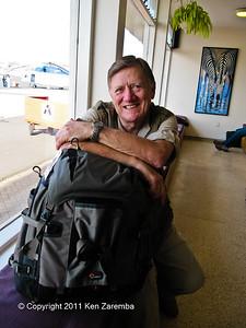 Nairobi, Wilson Airport. Ken & his camera bag