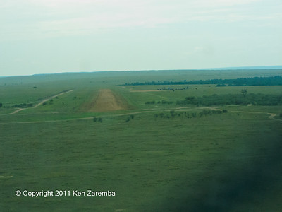 On final approach, Olkiombo airstrip in the Maasai Mara
