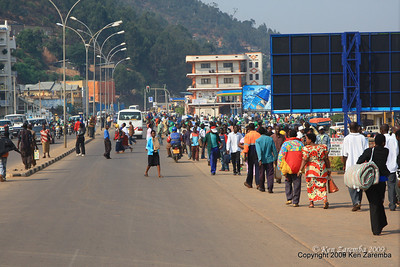 Typical people traffic down by the central bus station, Kigali Rwanda, 1/13/09