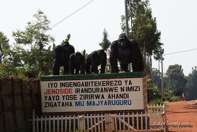 Genocide monument, lots of these on the road to Volcanoes Nat. Pk. from Kigali Rwanda, 1/13/09