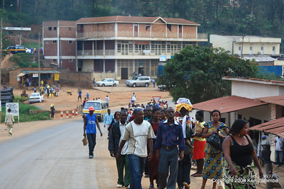 Typical in town roadside of people walking, Kigali Rwanda, 1/12/09