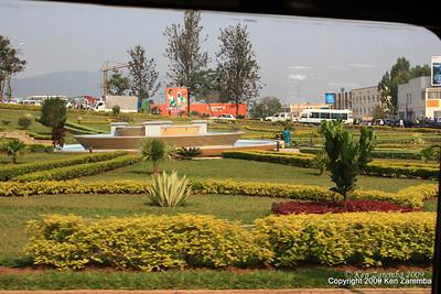 Landscaped traffic circle in Kigali Rwanda, 1/12/09