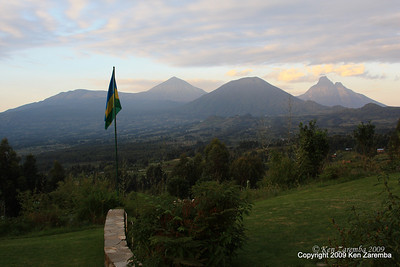 Volcanoes Karisimbi, Visoke & Mikeno from Sabyinyo Silverback Lodge reception, Rwanda, 1/14/09