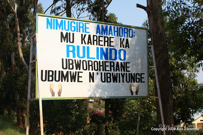Road sign saying ?, on the way to Volcanoes Nat. Pk. from Kigali Rwanda, 1/13/09