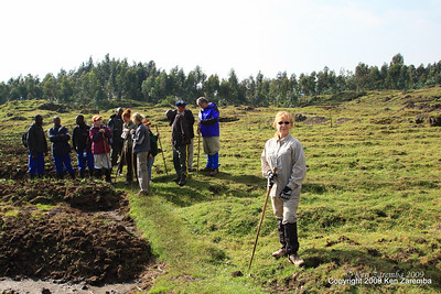 Hiking through the fields to Volcanoes Nat. Pk. to find Mountain Gorilla Group-13, Rwanda, 1/14/09