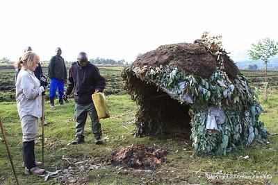 Guard shack and noise maker to scare away night feeding creatures, Rwanda, 1/14/09