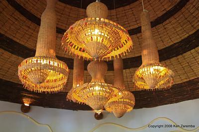 Lake Manyara Serena Lodge dining room ceiling lights, Tanzania, 12/31/08
