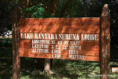 Lat/Long maker and sign for Lake Manyara Serena Lodge Tanzania, 12/31/08