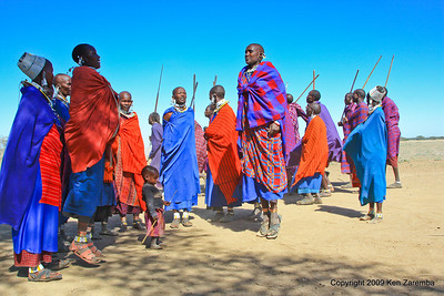 Maasai Warrorrs performing for us ( they like to jump), Tanzania 1/03/09