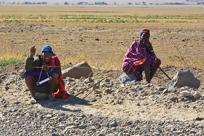 "Maasai Warriors on side of the road (one on the left is a ""Tribal Chief""), Olduvai Gorge Tanzania 1/03/09"