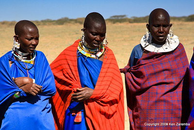 Maasai women welcoming us to thier village, Tanzania 1/03/09