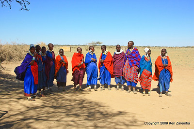 Maasai women out to greet us for our village visit, Tanzania 1/03/09