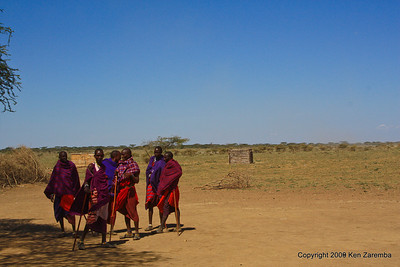 Masai Warriors bidding us farewell, Tanzania 1/03/09