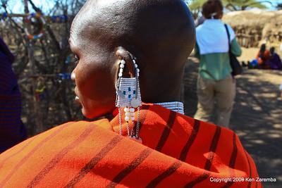 Maasai woman and her jewelery, Tanzania 1/03/09