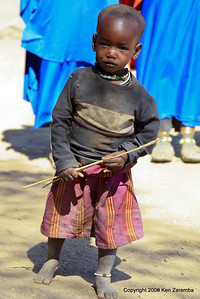 Maasai child, Even the kids are out to greet us, Tanzania 1/03/09