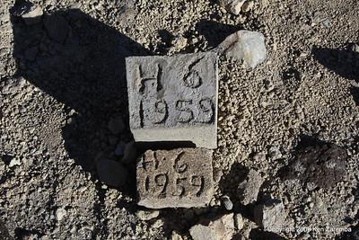Stones marking bone discovery, Olduvai Gorge Tanzania 1/03/09