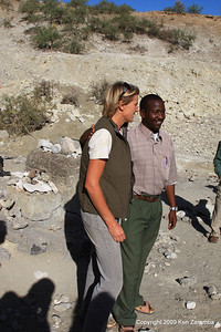 Louise leakey and ??, Olduvai Gorge Tanzania 1/03/09