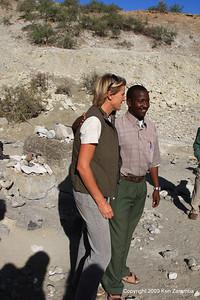 Louise leakey and ??, Olduvai Gorge Tanzania 1/03/09