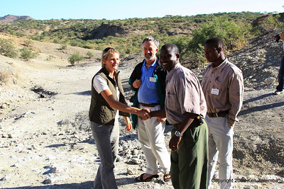 Louise Leakey, David Bygott (NGE Group Guide), significant worker & Jombi Kivuyo ( Tanzania Guide), Olduvai Gorge tanzania 1/03/09