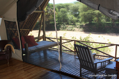 Our deck overlooking dry river bed at Jongomero Safari Camp, Ruaha Nat. Pk. Tanzania, 1/09/09
