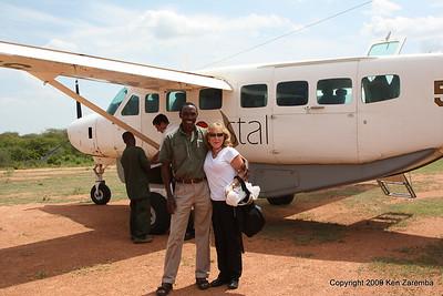 Susan and Kim, Jongomero Airstrip, Ruaha Nat. Pk. Tanzania, 1/11/09