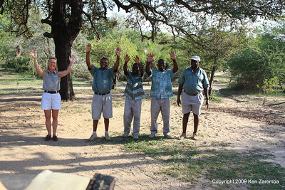Camp manager Jenny & staff welcome our arrival at Selous Safari Camp Tanzania 1/06/09