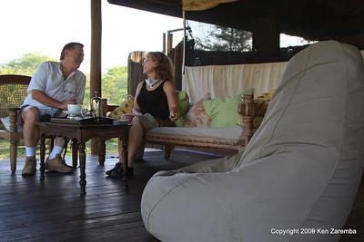 Early morning coffee on the veranda, Selous Safari Camp Tanzania 1/07/09