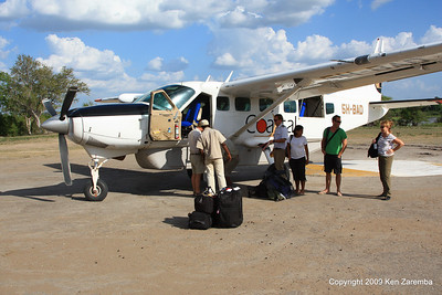 Arriving at the Siwando Airstrip in the Selous Game Reserve Tanzania 1/06/09