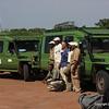 Nat. Geo. Ex. vehicles, drivers & guides : John, Oscar, David, Adam, Philamon & Jombi (kneeling) Grumeti Airstrip Serengeti Nat. Pk. Tanzania 1/06/09