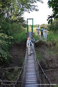Susan & Jombi on the back-up Grumeti airstrip access bridge, Serengeti Nat. Pk. Tanzania 1/05/09