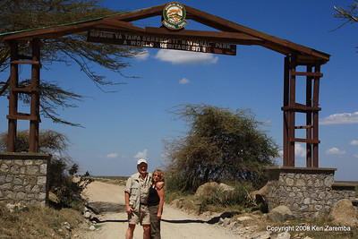 Ken & Susan at the entrance to Serengeti National Park, Tanzania 1/03/09