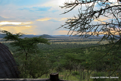 View of the Serengeti from our Serengeti Serena Lodge Boma, Tanzania 1/03/09