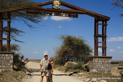 Ken & Susan at the gate of the world famous Serengeti Nat. Pk., Tanzania 1/03/09