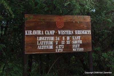 Lat/Long and sign for the Kirawira Camp, Western Serengeti, Serengeti National Park, 1/04/09 & 1/05/09