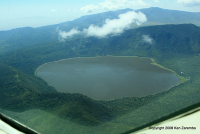 A crater lake from the air, Tanzania 1/06/09