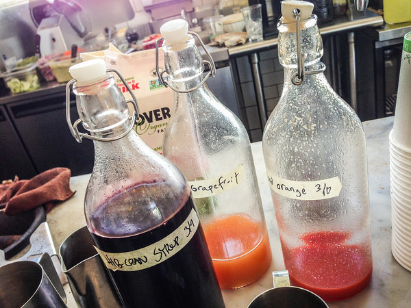 Homemade soda syrups at Elmwood Cafe in Berkeley