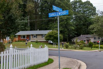 Walking to school via Tanglewood Court