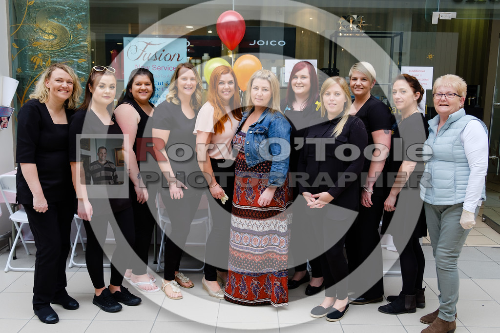 The team from Fusion Hair Salon with owner Adele Morgan and manager Melissa Morgan, at the Fusion Help Aaron Fundraiser. Picture: Rory O'Toole