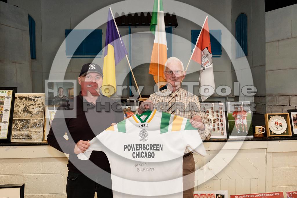 Jason Barrett presents his St. Brendan's Irish / American football jersey from 1999. Denis O'Sullivan's GAA Collection Expo. Picture: Rory O'Toole