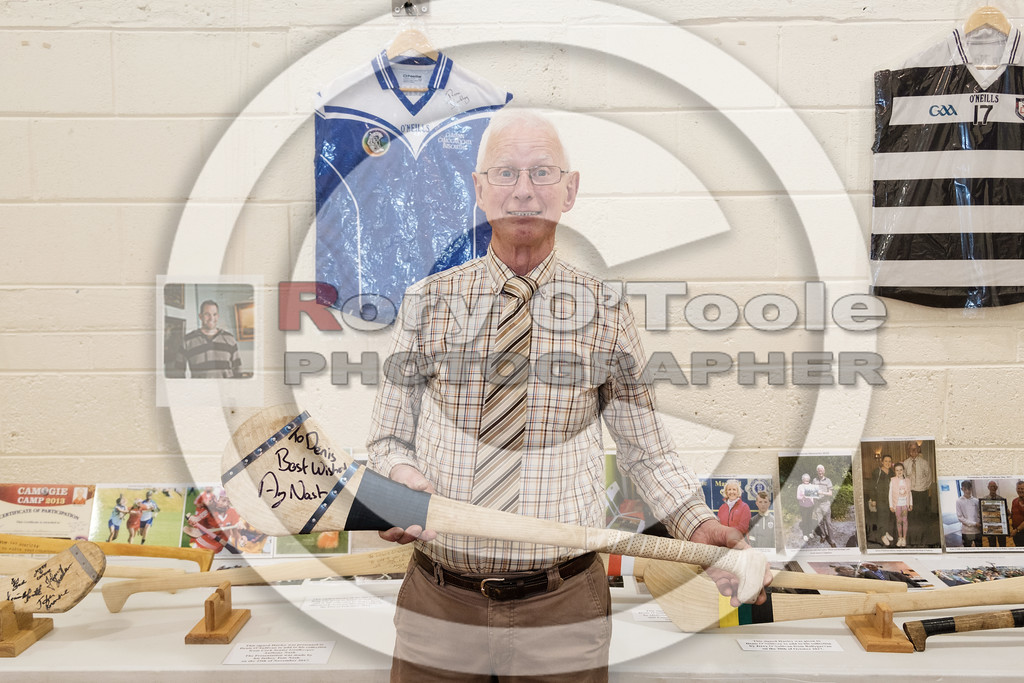 Denis with a hurley presented to him by Anthony Nash. Denis O'Sullivan's GAA Collection Expo. Picture: Rory O'Toole