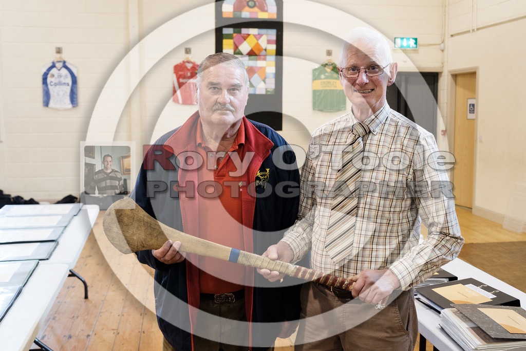 Finbarr Wall presents Denis with his hurley from the mid 1980's. Denis O'Sullivan's GAA Collection Expo. Picture: Rory O'Toole