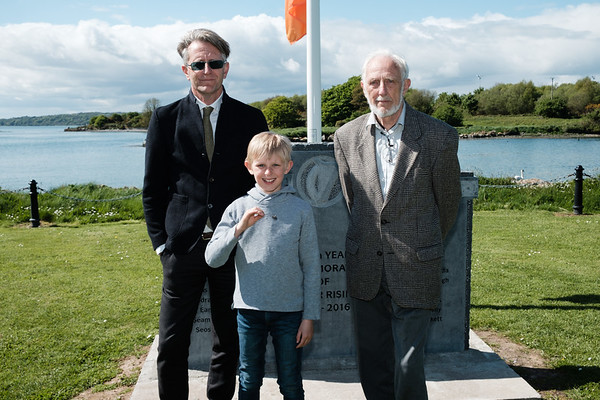 Descendants of Aghada 'L' Coy Captain and Batt. Quartermaster Patrick Joseph Higgins - Eugene Higgins, grandson, James Higgins, great grandson & Eugene Patrick Higgins, son