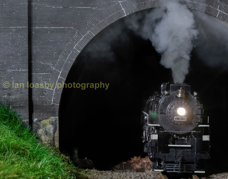 """Nickel Plate Road 765 is a 2-8-4 """" built by the Lima Locomotive Works in Lima, Ohio  the railway version is seen exhiting Primrose Hill Tunnel"""