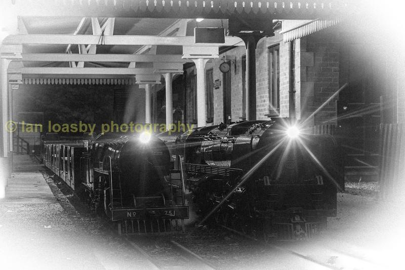 Curwen Atlantic  4-4-0 no 751 and  Alco 'Niagara class' 4-8-4 no 6019 at Stapleford station