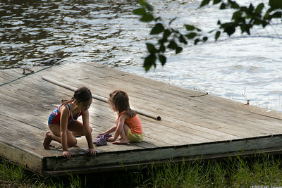 girls on the floating dock
