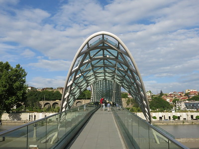 Modern pedestrian bridge in Tbilisi