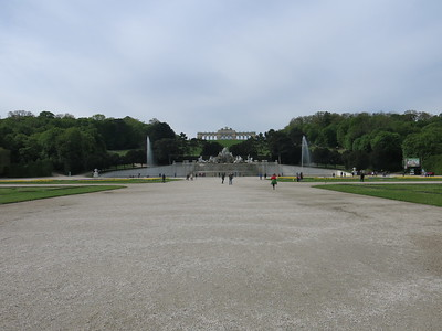 View on the Schönbrunn gardens and Gloriette building