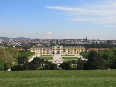 View of Schönbrunn and the city behind