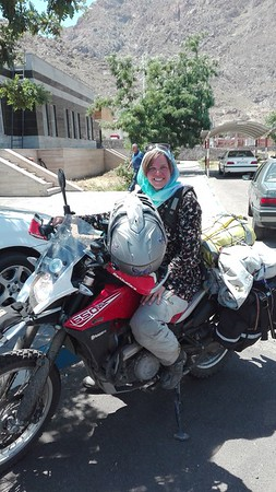 Cool biker chick entering Iran