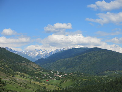 View on Mestia and the High Caucasus mountains